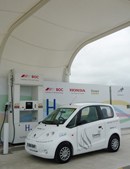 Microcab refuelling at new station in Swindon