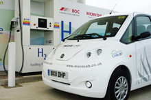 Microcab at the new hydrogen filling station in Swindon