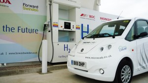 Microcab at the new hydrogen filling station at Honda, Swindon