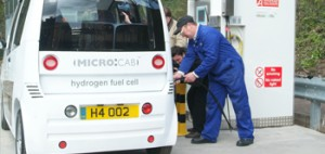 Microcab at the hydrogen fuelling station, University of Birmingham