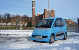Microcab in the snow at the University of Birmingham